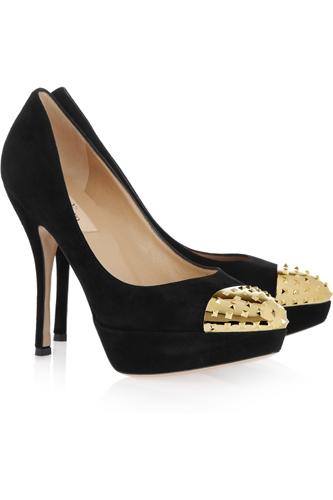 Valentino Studded toe cap suede pumps NET A PORTER COM