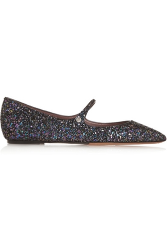 Tabitha Simmons Hermione Glitter Finished Leather Point Toe Flats Net A Porter.Com