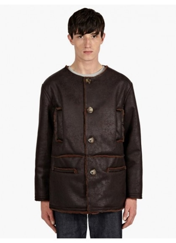 Gosha Rubchinskiy Men's Brown Faux Suede And Fur Coat Oki Ni