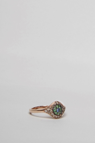 Totokaelo Makri Cats Eye Ring Green Multi