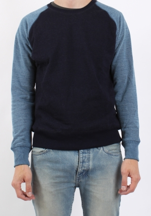 Han Worker Crew Neck Dark Light Indigo Pede Stoffer webshop