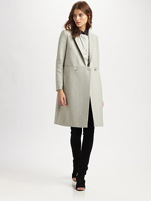 Carven Double Breasted Wool Rich Coat Saks com