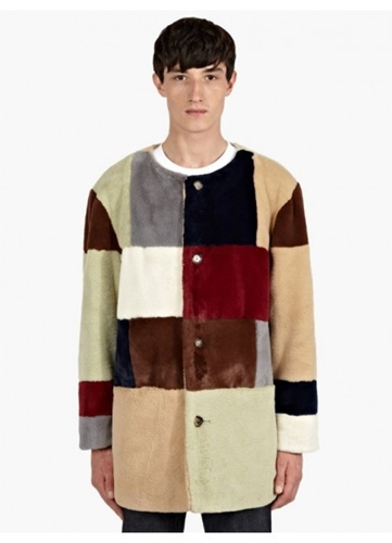 Gosha Rubchinskiy Men's Multicolour Patchwork Faux Fur Coat Oki Ni