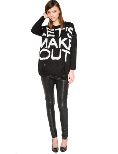 Black Let's Make Out Sweater 46