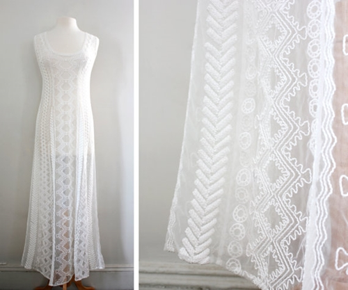Vintage 90S Sheer Tribal Inspired Maxi Dress By Cutandchicvintage