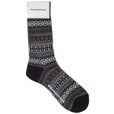 White Mountaineering Triangle Jacquard Middle Sock Charcoal