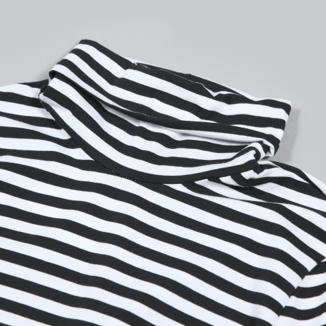 Dkny Stripe Turtle Neck Black White