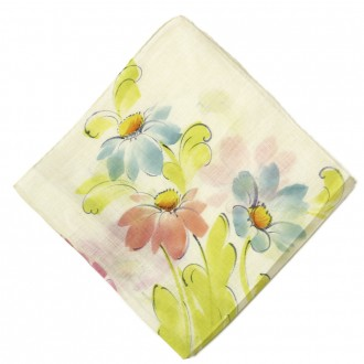 Vintage Watercolor Floral Linen Pocket Square Ovadia Sons
