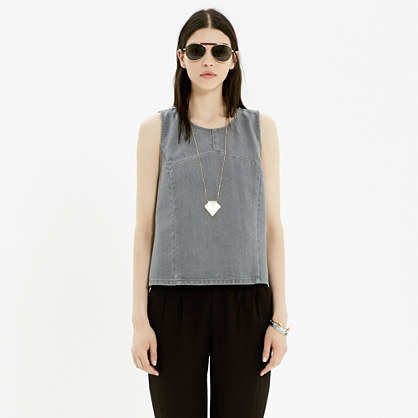 Denim Crop Tank In Grey Chambray Denim Madewell