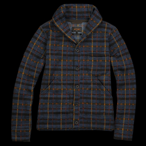 Unionmade Beams Plaid Cardigan With Shawl Collar In Navy
