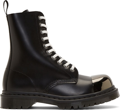 Dr. Martens Black Leather Steel Toe Grasp Boots Ssense