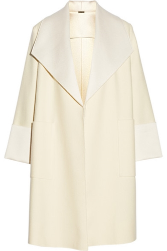 Adam Lippes Satin Trimmed Wool Blend Coat Net A Porter.Com