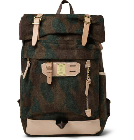 Master Piece Leather Trimmed Camouflage Wool Blend Backpack Mr Porter