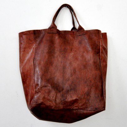Brown Leather Bag Tall Shape Vdc For La Liane