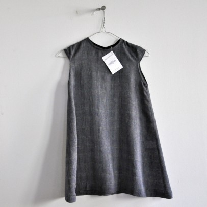 Short Sleeves Dress Fine Dark Stripes