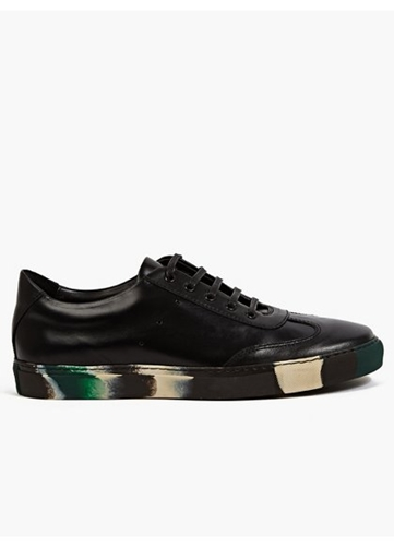 X The Generic Man Black Green Leather Sneakers