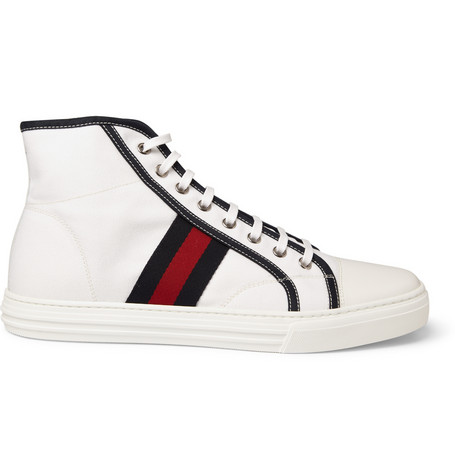 Gucci Striped High Top Canvas Sneakers MR PORTER