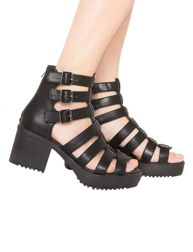 Black Gladiator Sandals Cut Out Boots Leather Boots 68