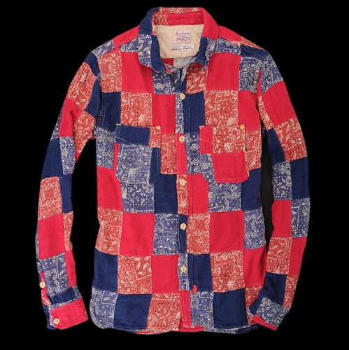UNIONMADE Anachronorm Patchwork Flannel Shirt in Dark Red