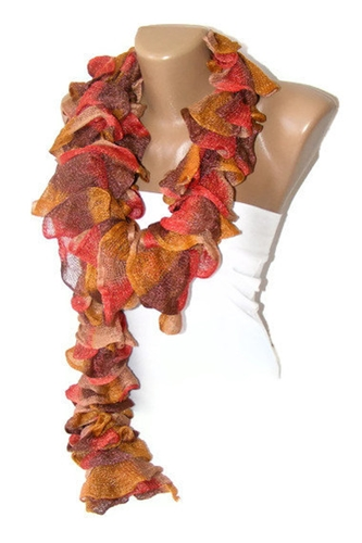 Women Knit Rufffle Scarf Women Accessory Gifts By Senoaccessory
