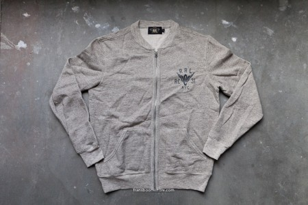 RRL longsleeve solid camp heather zip fleece