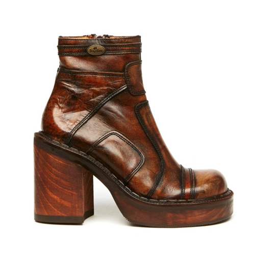 Ryder 90S Brown Leather Wooden Platform Ankle By Americandeadstock