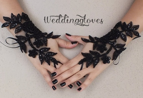 Rose Goth Gothic Lace Black Wedding Gloves Bridal By Weddinggloves