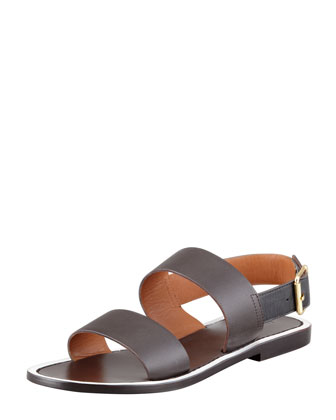 Marni Double Strap Leather Sandal Ebony Neiman Marcus