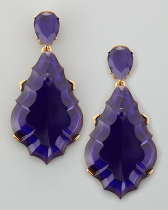 Oscar De La Renta Resin Chandelier Clip On Earrings Dark Purple Neiman Marcus