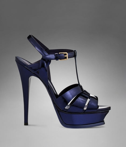 Ysl Tribute High Heel Sandal In Navy Blue Shiny Leather Sandals Shoes