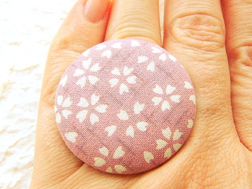 Japanese Fabric Button Ring Cherry Blossoms by SouZouCreations