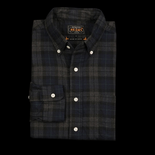 Unionmade Beams Herringbone Check Button Down Shirt In Navy And Grey