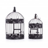 Round Floral Birdcage Set In Black Set Of 2
