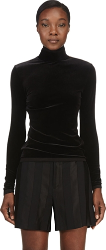 Denis Gagnon Black Velvet Shoulder Zip Turtleneck Ssense