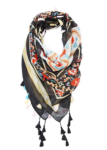 TOUCH ACCESSORIES TOUCH Printed scarf tassels