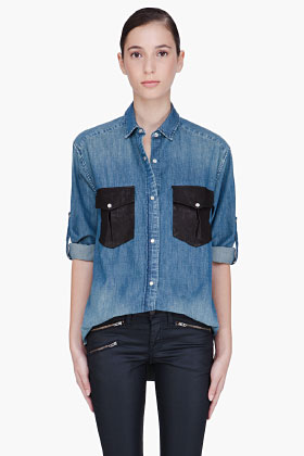 Iro Denim Fabiana Blouse for women SSENSE