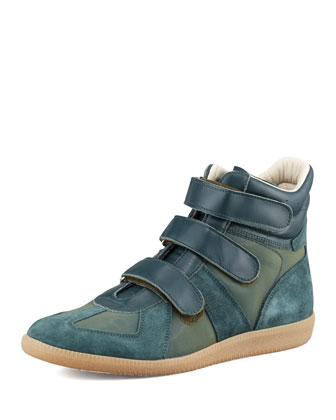 Maison Martin Margiela Three Strap High Top Sneaker Green Neiman Marcus