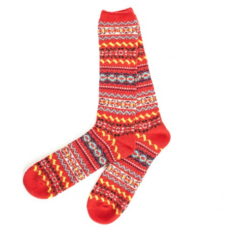 Anonymous Ism Red Fair Isle Patterned Crew Socks