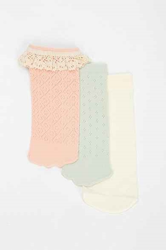 Ecote Pointelle Ruffle No Show Sock Pack Of 3