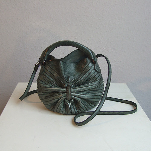 MAJO Bobo11 Mini Round Leather Stich Panel Bag