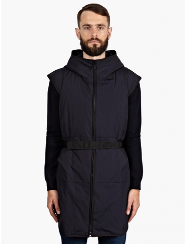Jil Sander Men's Navy Sleeveless Hooded Coat Oki Ni