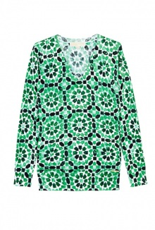 Kaleidoscope Print V Neck Sweater By Michael Michael Kors