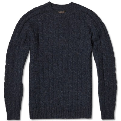 Beams Plus Cable Crew Sweater Navy
