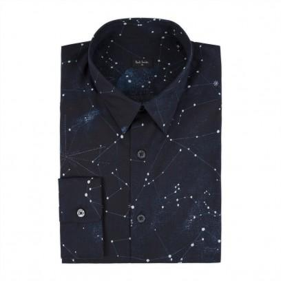 Paul Smith Men's Shirts Navy Cosmos Print Shirt