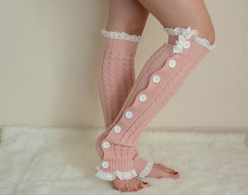 Pale Pink Slouchy Open Button Down Lace Leg Warmers Knit By Bstyle