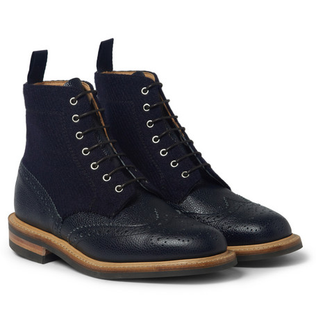 Mark Mcnairy Leather And Tweed Brogue Boots Mr Porter