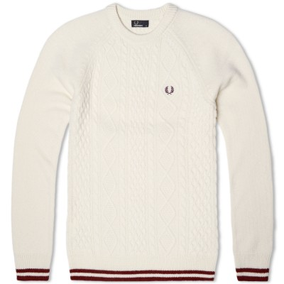 Fred Perry Tipped Sailor Knit Sweater Ecru
