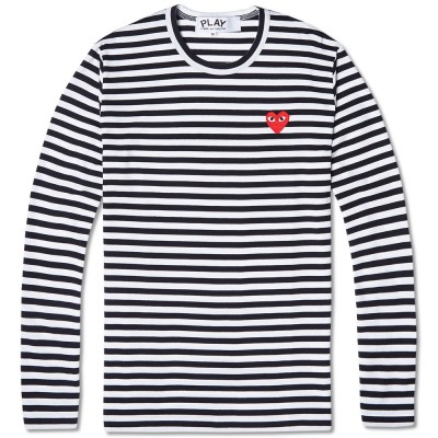 Comme Des Garcons Play Long Sleeved Stripe Logo Tee Black White