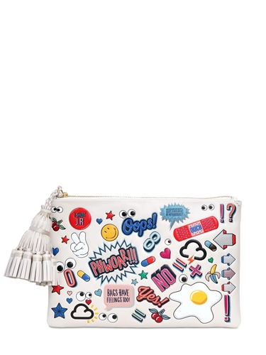 Anya Hindmarch Georgiana Stickers Printed Leather Bag Nuji