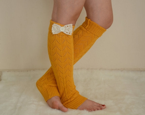 Mustard Lace Bow Leg Warmers Chunky Leg Warmers Girly By Bstyle